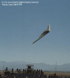 "B-2 Bomber performs a flyover on the day of the naming ceremony for the ""Spirit of California"". The B-2 flew very low over the crowd attending the event in Palmdale, California. Picture by David Coffin"